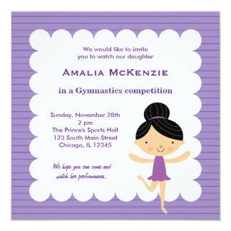 """Gymnastics Competition 5.25"""" Square Invitation Card"""