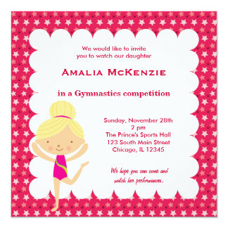 "Gymnastics Competition 5.25"" Square Invitation Card"