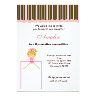 "Gymnastics Competition 5"" X 7"" Invitation Card"