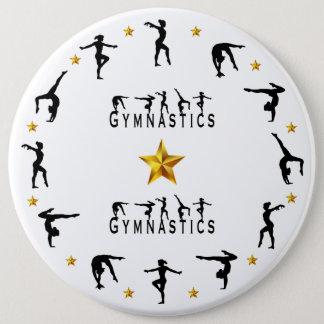 Gymnastics, Female, Gold Stars 6 Inch Round Button