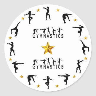 Gymnastics, Female, Gold Stars Classic Round Sticker