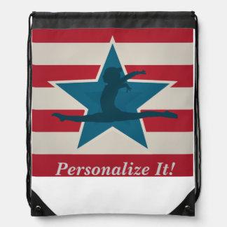 Gymnastics Gifts USA themed Drawstring Bag