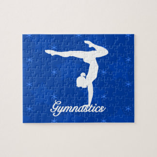 Gymnastics Girl Blue Stars Jigsaw Puzzle