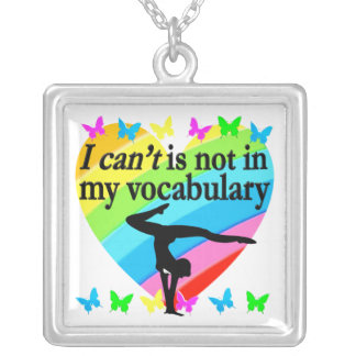 GYMNASTICS GIRL INSPIRATIONAL DESIGN SILVER PLATED NECKLACE