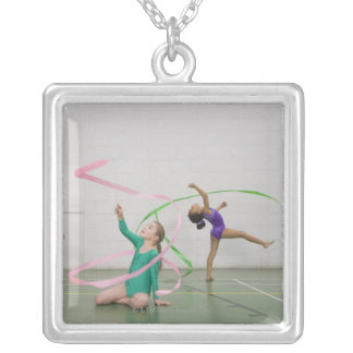 Gymnastics girls dancing with ribbons silver plated necklace