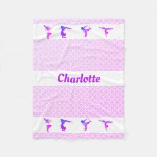 Gymnastics Girls Name Purple Pink Quatrefoil Fleece Blanket