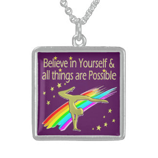 GYMNASTICS GOALS AND DREAMS DESIGN STERLING SILVER NECKLACE