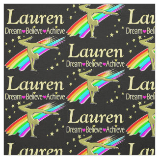 GYMNASTICS GOALS PERSONALIZED RAINBOW FABRIC