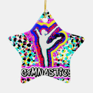 Gymnastics Grafitti Custom Art Girls Ceramic Ornament