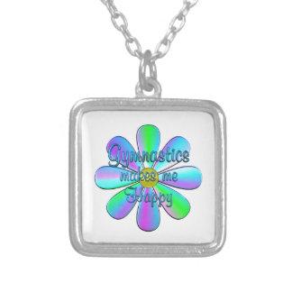 Gymnastics Happy Silver Plated Necklace