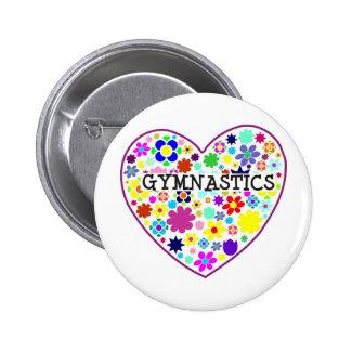 Gymnastics Heart with Flowers 2 Inch Round Button