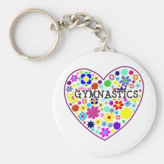 Gymnastics Heart with Flowers Basic Round Button Keychain