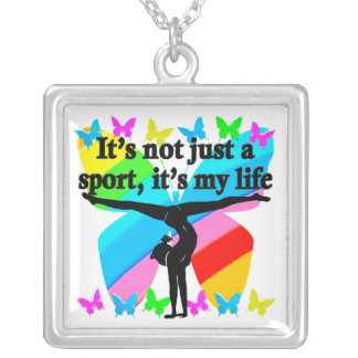 GYMNASTICS IS MY LIFE RAINBOW DESIGN SILVER PLATED NECKLACE