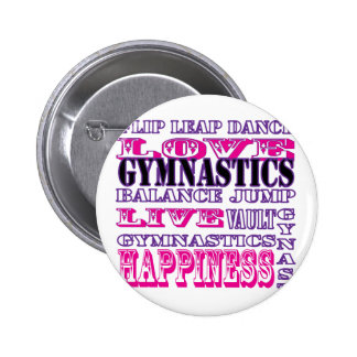 Gymnastics Live, Love, Happiness Apparel for Girls 2 Inch Round Button