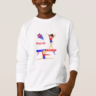 Gymnastics long sleeved tee shirt red, white, blue