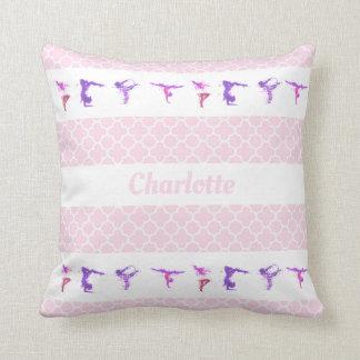 Gymnastics Name Quatrefoil Pattern Girly Pink Throw Pillow