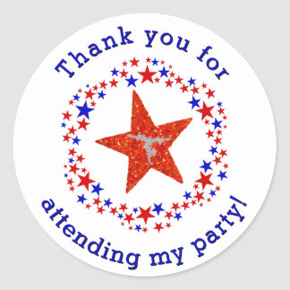 Gymnastics Party Birthday Favor Tag Red Blue Stars