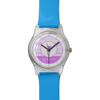 Gymnastics Pastel Horizontal Stripes w/ Monogram Wristwatches