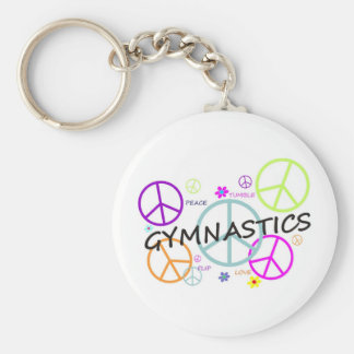 Gymnastics Peace Signs Basic Round Button Keychain