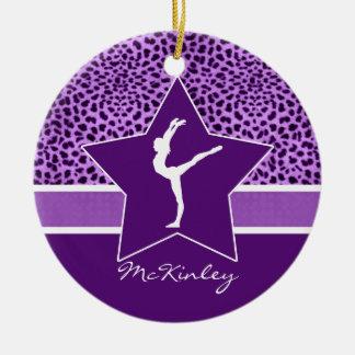 Gymnastics Purple Cheetah Print with Monogram Ceramic Ornament