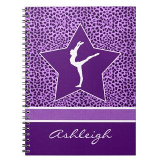 Gymnastics Purple Cheetah Print with Monogram Notebook