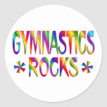 GYMNASTICS ROCKS ROUND STICKERS