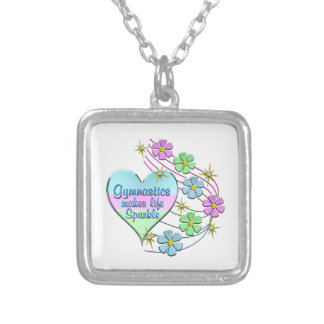Gymnastics Sparkles Silver Plated Necklace
