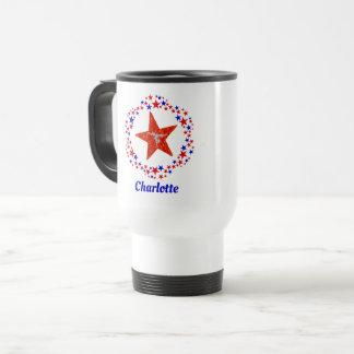 Gymnastics Star Red White Blue Monogrammed Name Travel Mug