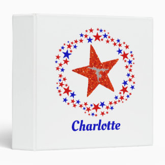 Gymnastics Stars Red White Blue Personalized Name Binders