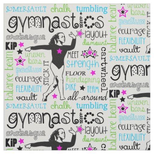 Gymnastics Typography Fabric