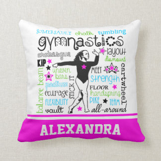 Gymnastics Typography with Monogram Throw Pillow