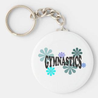 Gymnastics with Blue Flowers Keychain