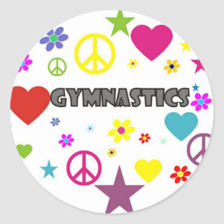 Gymnastics with Mixed Graphics Classic Round Sticker