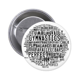 Gymnastics Word Cloud Tumbling 2 Inch Round Button