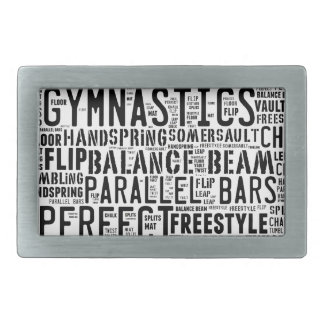 Gymnastics Word Cloud Tumbling Belt Buckles
