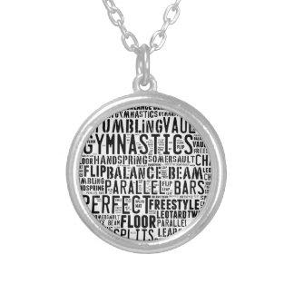 Gymnastics Word Cloud Tumbling Silver Plated Necklace