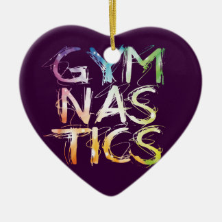 Gymnastique pourpre Starburst de personnaliser Ornement Cœur En Céramique