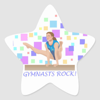 Gymnasts Rock!  Balance Beam Star Sticker