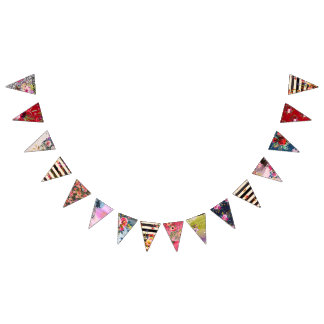 Gypsy, boho style, multiple colors and designs bunting flags