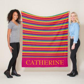 Gypsy Caravan Stripes Personalized Fleece Blanket