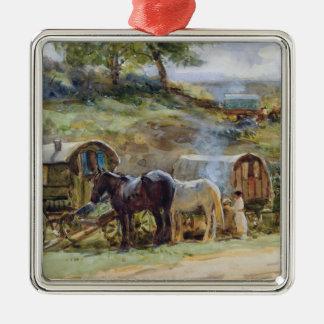 Gypsy Encampment, Appleby, 1919 Metal Ornament