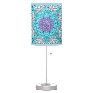 Gypsy Ethnic Embroidery  turquoise blue bohemian Table Lamp