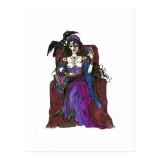 Gypsy Fortune Teller and Crow Postcard