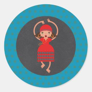 Gypsy Girl Dancing Birthday Party Round Sticker