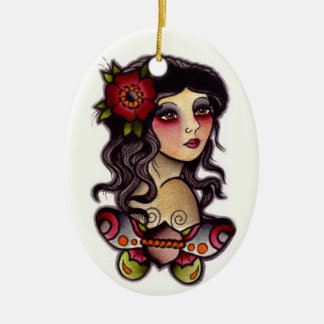 gypsy girl with butterfly ceramic ornament