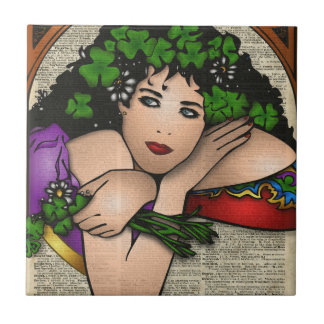 Gypsy Girl with Clovers Vintage Art On Book Page Tile