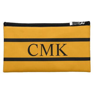 Gypsy Gold and Black Stripe Monogram Makeup Bag