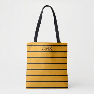 Gypsy Gold and Black Stripe Monogram Tote Bag