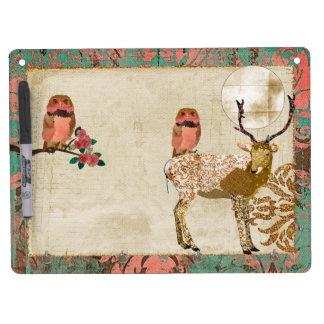 Gypsy Golden Pink Owls & Ornate Buck  Full Moon Dr Dry-Erase Whiteboard