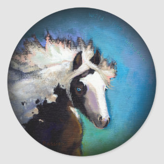 Gypsy Horse running passion colorful painting art Classic Round Sticker